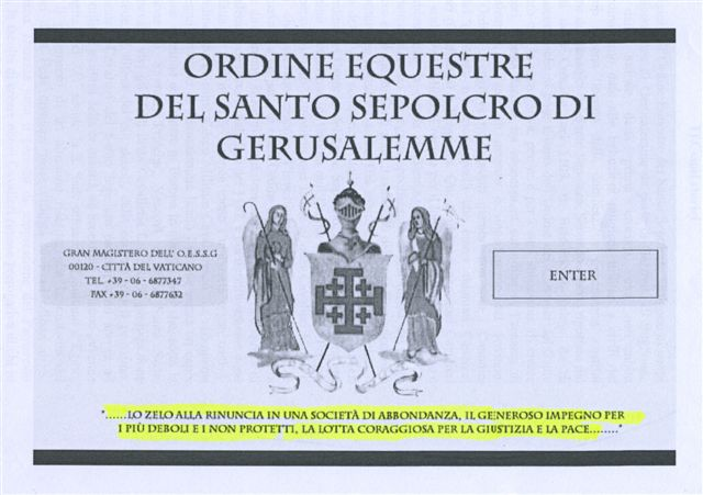 31 - Statuto dell'Ordine Equestre del Santo Sepolcro di Gerusalemme