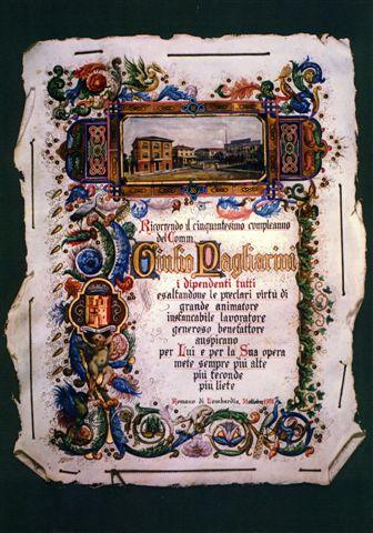 39 - La preziosa pergamena donata dai collaboratori a Giulio Pagliarini a lode delle sue doti