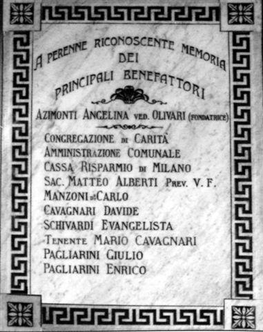 40 - Targa a memoria che lo ricorda fra i principali benefattori dell'Asilo Olivari