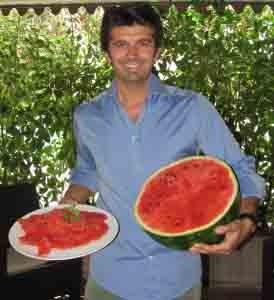 Diego Zanchi e il suo carpaccio d'anguria.